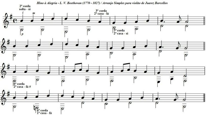 Hino à Alegria arranjo simplificado para violão em Sol maior