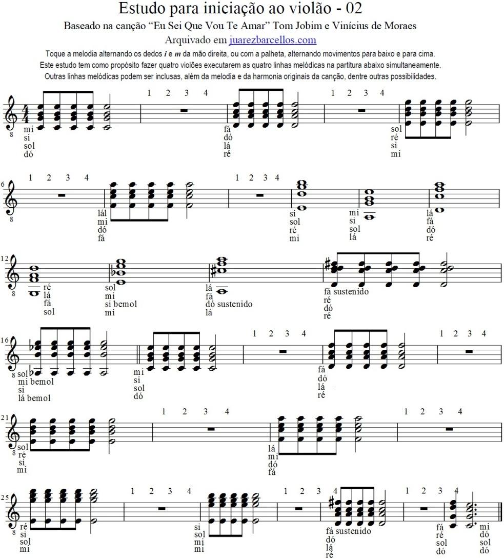 Estudo para iniciação ao violão - 02